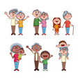 set of grandparents with kids vector image