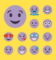 set of purple smiles emoji cartoon character faces vector image