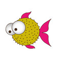 silhouette color of blowfish with big eyes vector image vector image