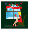sitting woman near window holding christmas gift vector image vector image