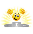 smiley emoticon in the winners podium smiley take vector image