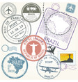 travel stamps set - brazil and rio de janeiro vector image vector image