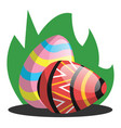 two easter eggs with a pattern in grass web on a vector image