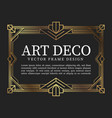 vintage frame art deco style vector image vector image
