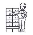 warehousedelivery man checking barcode on post vector image