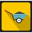 Wheelbarrow with ground icon flat style vector image vector image