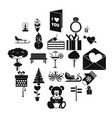 winter walk icons set simple style vector image