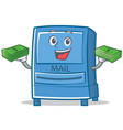with money mailbox character cartoon style vector image vector image