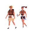 young active couple traveling together vector image