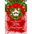 merry christmas bullfinch greeting card vector image