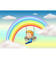 An angel near the rainbow vector image vector image
