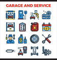 automotive garage and service outline color icon vector image vector image