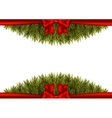 Background with christmas tree branches and a red vector image