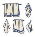 bathrooms textile towels icons of set vector image vector image