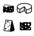 black cheeses icons set vector image vector image