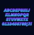 blue purple gradient neon alphabet on a dark vector image