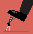 Business woman pushing big foot vector image vector image