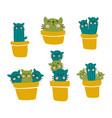 cactus cat set vector image vector image