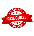 case closed ribbon case closed round red sign vector image vector image