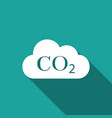 co2 emissions in cloud icon with long shadow vector image