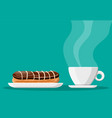 coffee cup and eclair cake vector image vector image