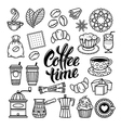 coffee doodle icon set vector image vector image