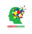 creative human head - logo template concept vector image vector image