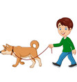 cute boy walking with dog vector image