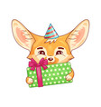 cute fennec fox in a party hat with gift box vector image vector image
