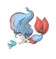 cute mermaid with fish childish vector image
