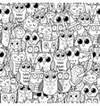 cute owls black and white seamless pattern doodle vector image