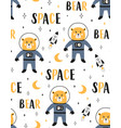 cute seamless pattern with space bear vector image