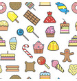desserts and sweet snacks seamless pattern bakery vector image