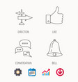 direction thumb up and conversation icons vector image vector image
