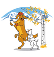 Dogs walking together vector image vector image