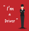 driver character on red background flat design vector image vector image