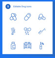 drug icons vector image vector image