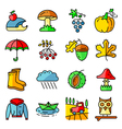 Fall season icons with autumn and crop objects vector image vector image