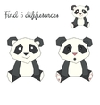 Find differences kids layout for game panda bear vector image vector image