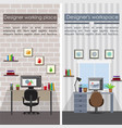 flat designer workplaces vertical banners vector image vector image