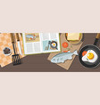 fried egg vegetables frying pan and fish vector image