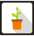 Green plant in a pot icon flat style vector image vector image