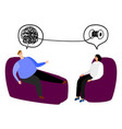 happy man in the seat of psychotherapy vector image vector image
