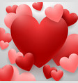 happy valentines day with red heart on background vector image