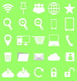 Internet icons on green background vector image