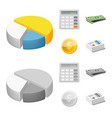 isolated object of bank and money icon collection vector image vector image