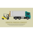 Loader loading and puts the goods in truck vector image