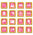 lock door types icons set pink square vector image