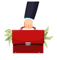man holding red budget briefcase filled with money vector image vector image