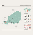 map niger country map with division cities and vector image